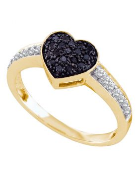 10k Yellow Gold Womens Black Color Enhanced Round Diamond Heart Cluster Ring 1/3 Cttw