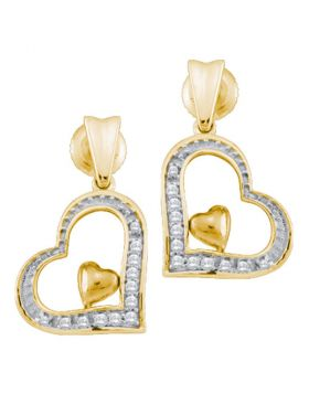 10k Yellow Gold Round Diamond Heart Love Dangle Screwback Stud Earrings 1/10 Cttw