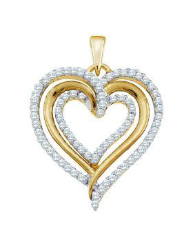 10kt Yellow Gold Womens Round Diamond Heart Pendant 3/8 Cttw