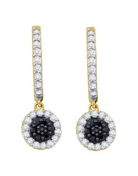 10k Yellow Gold Black Color Enhanced Diamond Womens Hoop Flower Cluster Dangle Earrings 1/2 Cttw