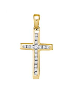 10kt Yellow Gold Womens Round Diamond Small Cross Pendant 1/8 Cttw