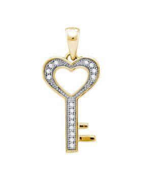 Yellow-tone Sterling Silver Womens Round Diamond Key Love Pendant 1/20 Cttw