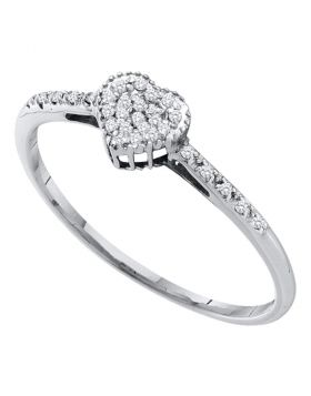 14kt White Gold Womens Round Diamond Heart Love Ring 1/12 Cttw