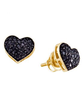 14k Yellow Gold Black Color Enhanced Diamond Womens Pave Cluster Screwback Stud Heart Earrings 3/8 Cttw