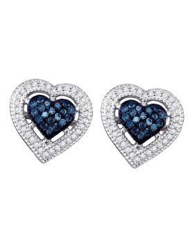 10kt White Gold Womens Round Blue Color Enhanced Diamond Heart Love Screwback Earrings 3/8 Cttw