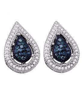 10kt White Gold Womens Round Blue Color Enhanced Diamond Teardrop Cluster Earrings 3/8 Cttw