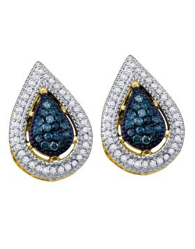 10kt Yellow Gold Womens Round Blue Color Enhanced Diamond Teardrop Cluster Earrings 3/8 Cttw