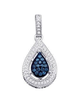 10kt White Gold Womens Round Blue Color Enhanced Diamond Teardrop Cluster Pendant 1/5 Cttw