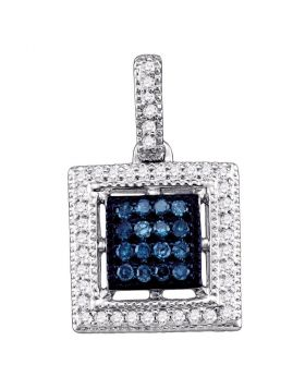 10kt White Gold Womens Round Blue Color Enhanced Diamond Square Cluster Pendant 1/5 Cttw