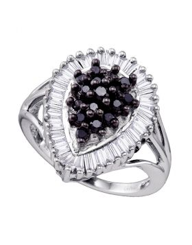 Sterling Silver Black Color Enhanced Round Baguette Diamond Womens Teardrop-shape Cocktail Ring 1.00 Cttw
