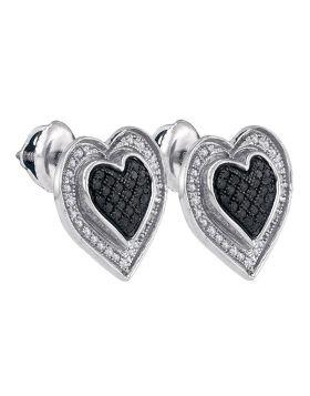 Sterling Silver Womens Round Black Color Enhanced Diamond Outline Heart Screwback Earrings 1/3 Cttw