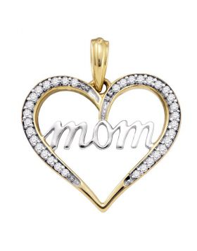 10k Yellow Gold Diamond Mom Mother Heart Love Anniversary Pendant 1/8 Cttw