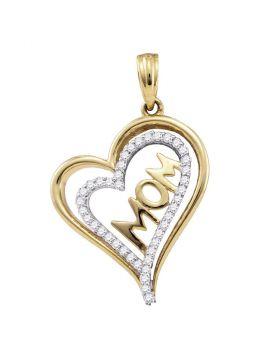 10kt Yellow Gold Womens Round Diamond Mom Mother Heart Pendant 1/5 Cttw