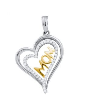10kt Two-tone Gold Womens Round Diamond Mom Mother Heart Pendant 1/6 Cttw