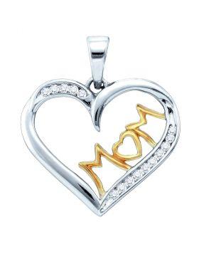 Sterling Silver White Diamond Mom Mother Womens Heart Pendant 1/6 Cttw