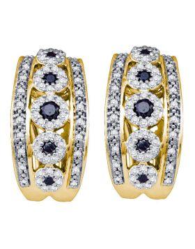 10k Yellow Gold Black Color Enhanced Diamond Womens Womens Cocktail Omega-back Luxury Hoop Earrings 3/4 Cttw