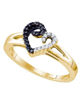 Sterling Silver Black Color Enhanced White Diamond Yellow-tone Heart Love Ring 1/6 Cttw