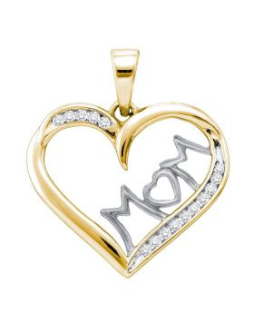 Yellow-tone Sterling Silver Womens Round Diamond Mom Mother Heart Pendant 1/6 Cttw