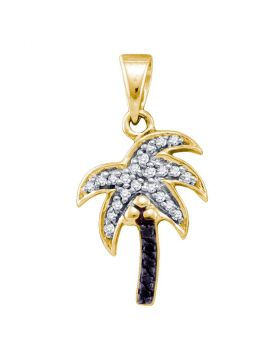 10kt Yellow Gold Womens Round Black Color Enhanced Diamond Nautical Palm Tree Beach Pendant 1/8 Cttw