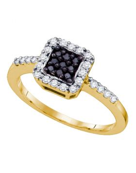 10k Yellow Gold Black Color Enhanced Diamond Womens Square Halo Cluster Slender Ring 3/8 Cttw