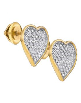 Yellow-tone Sterling Silver Womens Round Diamond Heart Love Screwback Earrings 1/6 Cttw