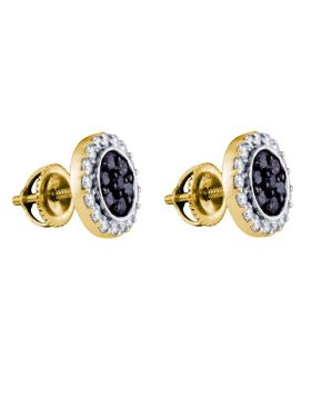 10kt Yellow Gold Womens Round Black Color Enhanced Diamond Circle Frame Cluster Earrings 1.00 Cttw