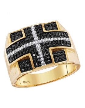 10KT YELLOW GOLD ROUND BLACK COLOR ENHANCED DIAMOND CROSS STRIPE SQUARE CLUSTER RING 5/8 CTTW