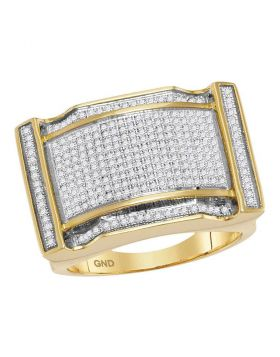 10KT YELLOW GOLD ROUND PAVE-SET DIAMOND RECTANGLE CONCAVE CLUSTER RING 7/8 CTTW