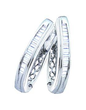 Sterling Silver Womens Baguette Diamond Hoop Earrings 3/8 Cttw