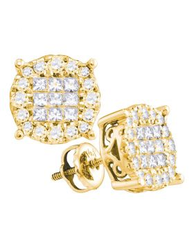 14kt Yellow Gold Womens Princess Diamond Soleil Cluster Earrings 1.00 Cttw