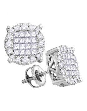 14kt White Gold Womens Princess Diamond Soleil Cluster Earrings 1/2 Cttw