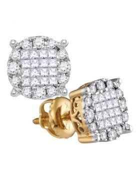14kt Yellow Gold Womens Princess Diamond Soleil Cluster Earrings 1/2 Cttw