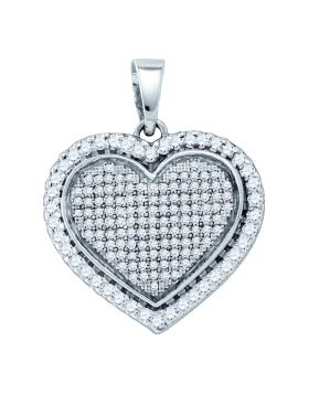 Sterling Silver Womens Round Diamond Heart Pendant 3/4 Cttw