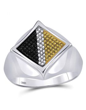 STERLING SILVER ROUND BLACK YELLOW COLOR ENHANCED DIAMOND DIAGONAL SQUARE RING 1/3 CTTW