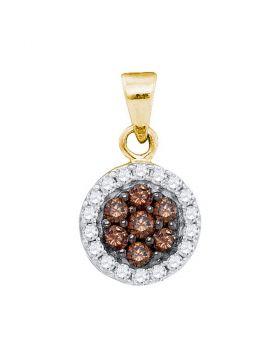 10kt Yellow Gold Womens Round Cognac-brown Color Enhanced Diamond Framed Flower Cluster Pendant 3/8 Cttw