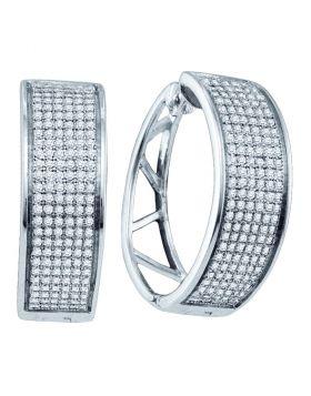 Sterling Silver Womens Round Diamond Hoop Earrings 7/8 Cttw