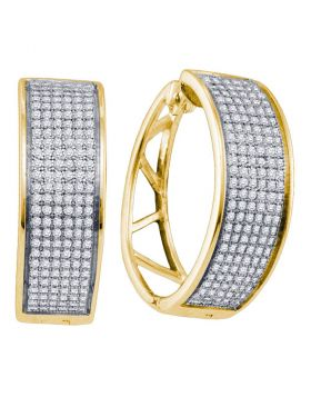 Yellow-tone Sterling Silver Womens Round Diamond Hoop Earrings 7/8 Cttw