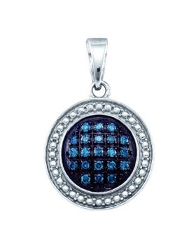 Sterling Silver Womens Round Blue Color Enhanced Diamond Circle Cluster Pendant 1/5 Cttw
