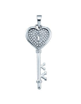 Sterling Silver Womens Round Diamond Key Lock Heart Pendant 1/6 Cttw