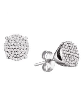 10kt White Gold Womens Round Diamond Circle Cluster Stud Earrings 1/3 Cttw