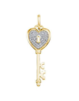 10kt Yellow Gold Womens Round Diamond Heart Handle Key Pendant 1/5 Cttw
