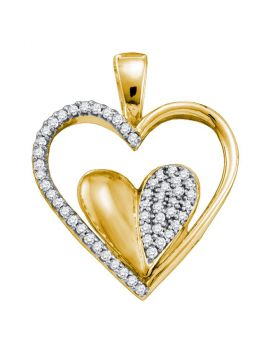 10kt Yellow Gold Womens Round Diamond Double Cradled Heart Pendant 1/5 Cttw