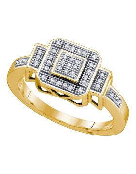 10kt Yellow Gold Womens Round Diamond Square Cluster Ring 1/8 Cttw