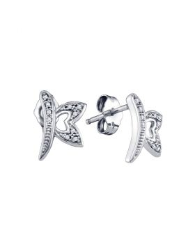10kt White Gold Womens Round Diamond Butterfly Bug Earrings 1/20 Cttw