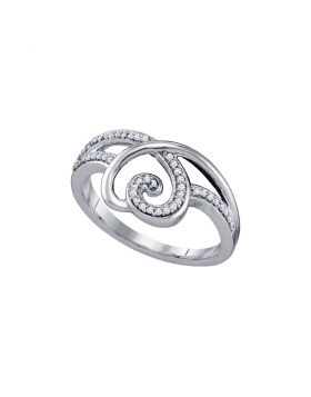 10kt White Gold Womens Round Diamond Heart Love Ring 1/6 Cttw