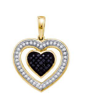 10kt Yellow Gold Womens Round Black Color Enhanced Diamond Framed Heart Pendant 1/5 Cttw