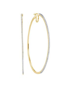 10kt Yellow Gold Womens Diamond Large Hoop Earrings 3/4 Cttw