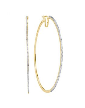 10kt Yellow Gold Womens Diamond Large Hoop Earrings 1/2 Cttw
