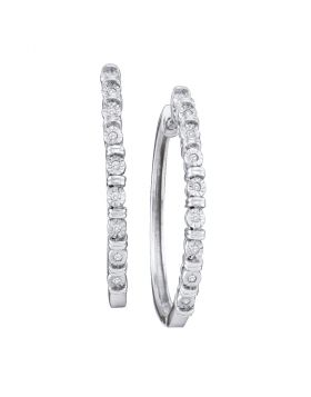 10kt White Gold Womens Round Diamond Single Row Hoop Earrings 1/20 Cttw