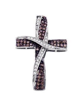 10kt White Gold Womens Round Cognac-brown Color Enhanced Diamond Cross Pendant 1/2 Cttw